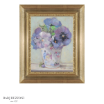 Pink delicate flowers in glass vase-H4086