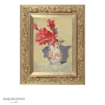 Red-flowers-in-a-china-pitcher-H4085-31-G-Gold-18×24